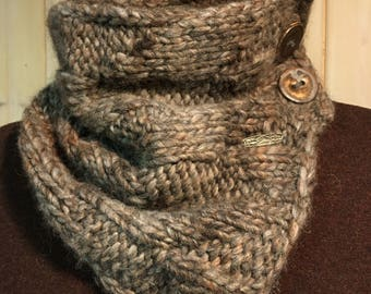 Hand knitted Winter Cowl With Buttons