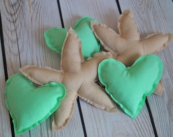 Stuffed heart and starfish bowl ornaments, set of 5 MINT hearts and CAMEL (tan) starfish, beach centerpiece, wedding favors, ready to ship