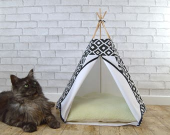 Cat teepee, cat tipi, pet teepee, teepee tent for cat dog, teepee tipi bed cat, cat house teepee - diamond pattern - black white copper