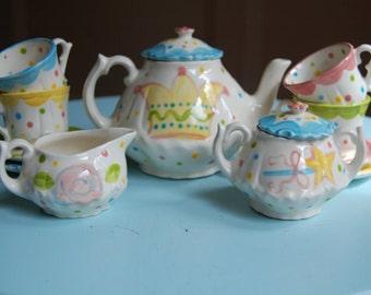 Polka Dot Princess Tea Party Personalized Little Girl's Tea Set  Handpainted
