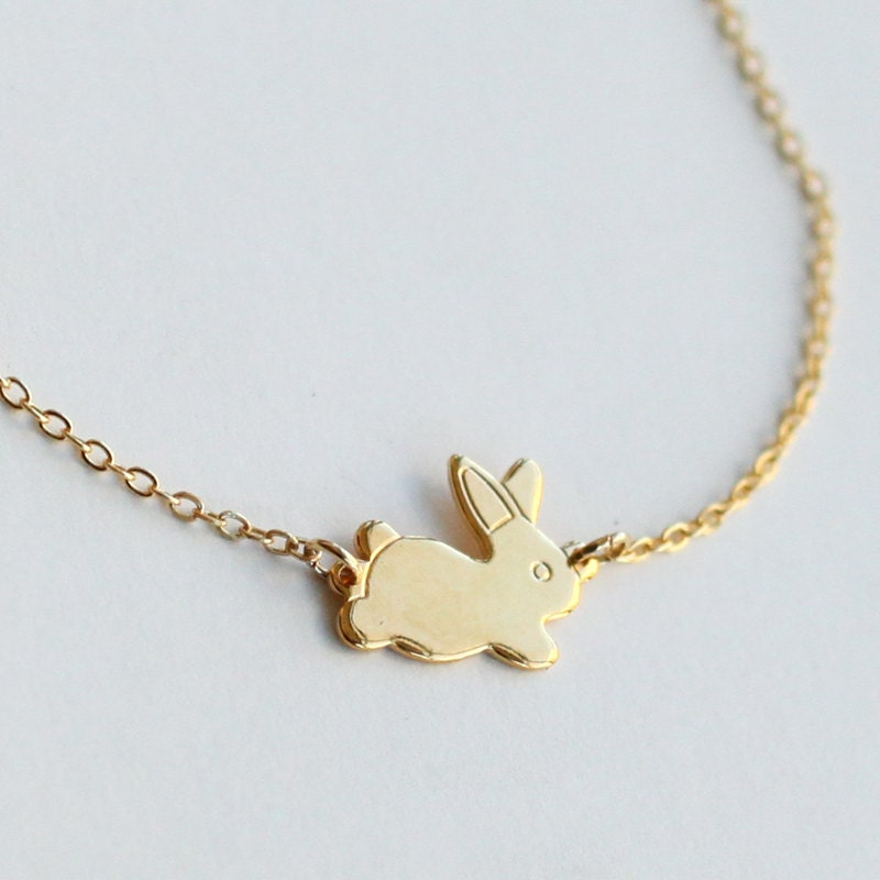 Gold rabbit necklace bunny necklace gold rabbit rabbit zoom aloadofball Images