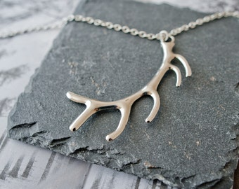 Antler Necklace, Silver Stag Necklace, Antler Pendant, Antler Jewellery, Stag Jewellery, Stag Charm, Christmas Jewellery, Stocking Filler