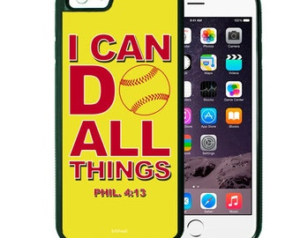 I Can Do All Things Softball Phone Case, Bible Verse Scripture iPhone case 4/4s 5/5s 5c 6 & Samsung Galaxy case s3 s4 s5 Faith iPhone Cover