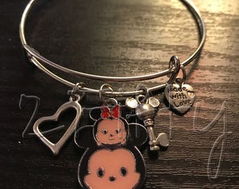 Mickey Loves Minnie Tsum Tsum Inspired Adjustable Bangle Bracelet