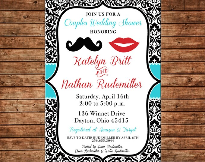Invitation Wedding Damask Mustache Lips Shower Party - Can personalize colors /wording - Printable File or Printed Cards