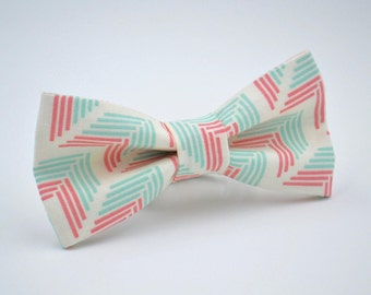 Adult Bow Tie in Coral and Mint, Arrows, Chevron, Groomsmen Bow Tie, Wedding Bow Ties, Mens Bow Tie