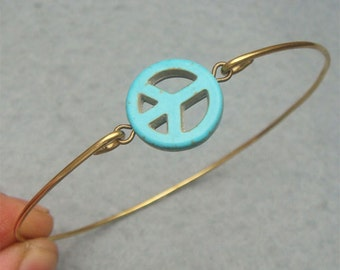 Turquoise Peace Bangle Bracelet