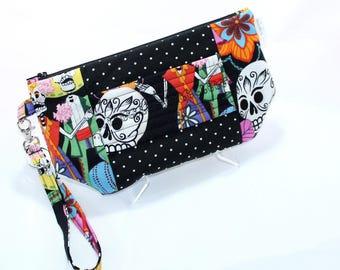 Wristlet Wallet - iPhone Plus - Large Wristlet Clutch with hand strap and removable wrist strap - EDC Wristlet - EDC Wallet - skulls