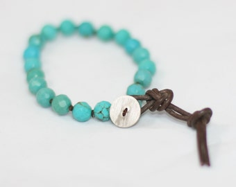 Turquoise Leather and Sterling Silver Knotted Boho Bracelet