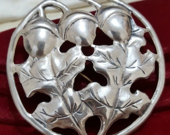 Vintage Sterling Silver Brooch, Large Oak Leaves and Acorns, 1980s