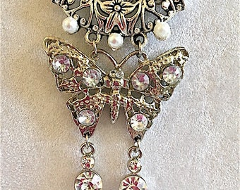 Butterfly Crystal and Pearl Necklace, Victorian Butterfly Necklace, Victorian Jewelry