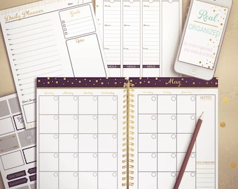 Undated Planner, Weekly Planner, Monthly Planner, Printable Calendar, Planner, Agenda, Black and Gold