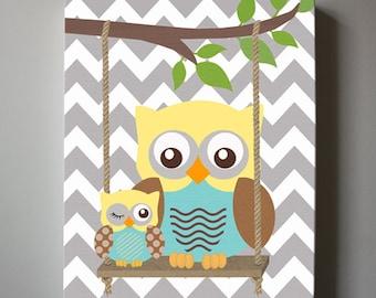 Baby Boy Room Decor , Owl Decor Boys wall art - OWL canvas art, Baby Nursery Owl with Swing 10x12  woodland whimsical nursery art