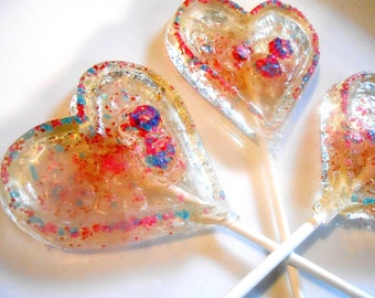 HEART LOLLIPOPS, CHAMPAGNE, Glitter Pops, Multi Colors, Sweetheart Day, Gift, Gifts for Mom, Gifts for Her, Sprinkles