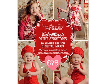 Valentine's Day Mini Session Photography Marketing Template  - AD113 - Instant Download