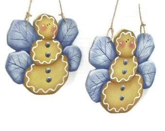 Hand Painted Gingerbread Butterfly Christmas Ornament