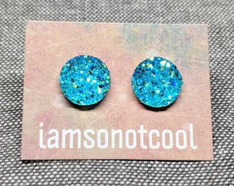 Aqua Druzy Stud Earrings / Sparkle Glitter Post Earrings / 10mm Stainless Steel / Faux Druzy Studs / Gifts for Her / Gifts Under 10