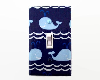 Whale Light Switch Cover - Blue Whales Switch Plate - Nautical Nursery Decor