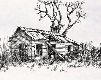 Abandoned Farmhouse - Ink Illustration Print 5x7