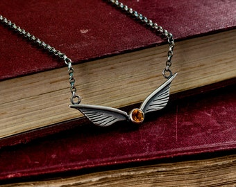 Sterling Silver and Citrine Golden Snitch Inspired Wings Necklace - Geek, Fantasy