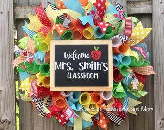 Teacher Wreath, School Wreath, Classroom Wreath, Personalized Teacher Gift, Teacher Mesh Wreath, Classroom Decor, Teacher Christmas Gift