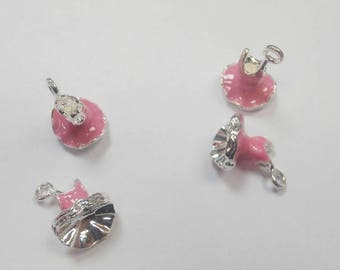 4 charms enameled pink dance tutu size 2.2 x 1.3 wide