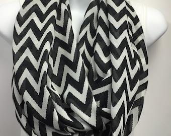 Black and White chevron georgette chiffon infinity scarf