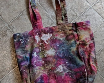 Hand Dyed Canvas Bag - 10x12x4 - Red - Purple - Blue/Green - The LuLu Tote - Tie Dye