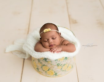 Flower Headband, Yellow Flower Headband, Yellow Flower, Yellow Headband, Baby Headband, Newborn Headband, Photography Prop, Flower Hairband