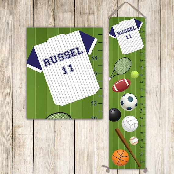 Sports Growth Chart - Football Growth Chart, Basketball Growth Chart, Boys Growth Chart, Height Chart, Boy Gift, Boy Toddler Gift - GC3002S