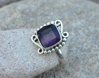 Amethyst Ring - 925 Sterling Silver Ring - Purple Gemstone Ring Size 6.5 - February Birthstone Ring - Gift For Her- Gemstone Jewelry, SLA2