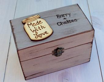 Farmhouse Style Recipe Box - 4x6 Recipe Card Storage - Rustic Recipe Box - Wooden Recipe Box - Recipe Holder - Bridal Shower Gift - Wedding