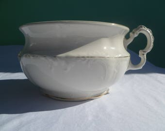 Victorian white porcelain ceramic chamber pot (commode) by Harvard