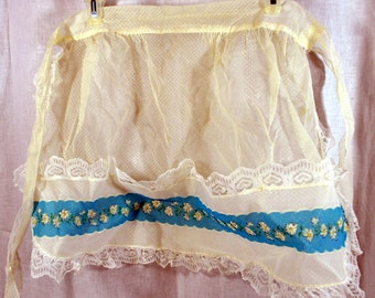 Vintage Apron Dotted Swiss Nylon with Lace and A Blue Stripe of Daisies