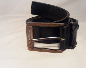 Vintage 1990's Black Leather Belt - Brand: HUGO BOSS