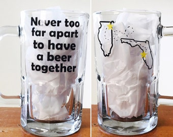Long distance friendship beer mug never to far apart to have a beer together gift for best friend