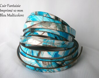 Rare strips fancy flat multicolor 10 mm wide Turquoise leather