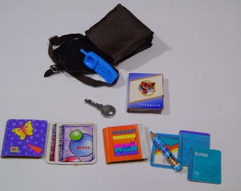 Barbie Back To School Vintage 1990 Mattel High School Yearbook Notebooks Key Cell Phone  School Accessories