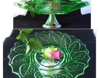A dramatic vintage Art Deco green uranium/ vaseline glass cake stand with chrome base. c1930s. A fabulous vintage gift, very collectible.