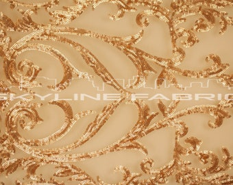 Gold Stretch Sequin Lace Fabric By The Yard