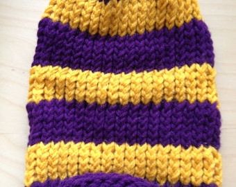 Purple and Gold Winter Hat