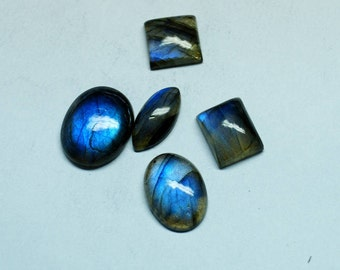 60% OFF - 5 Pieces SALE !! Blue Labradorite Lot 13x13 To 21x17 mm Labradorite Mix Shape - Cabochon Labradorite, Large Cabochon Stone (Z-136)