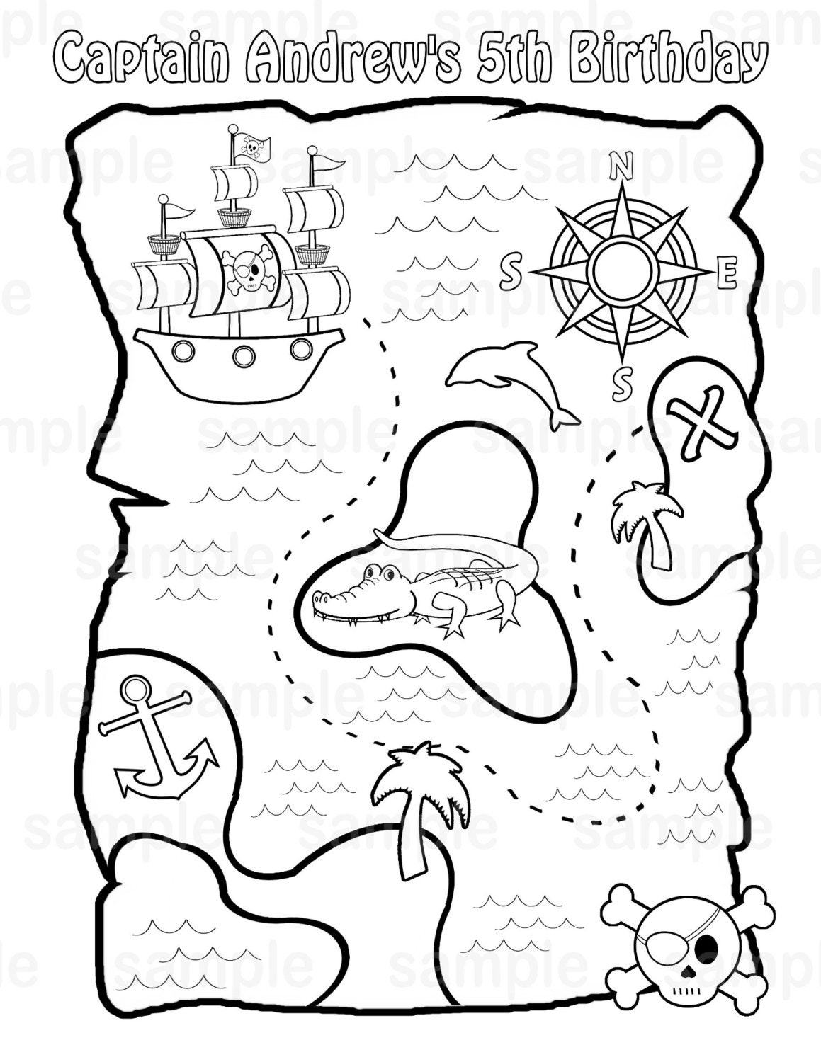 map coloring pages.  zoom Personalized Printable Pirate Treasure Map Birthday Party