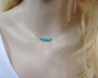Turquoise Bar Necklace, Natural Turquoise Necklace, Beaded Bar, Genuine Turquoise, Blue Layering Necklace, Delicate Turquoise, Gemstone Bar