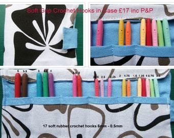 NEW! 17 Soft Grip Crochet Hooks Set With Color Coded Rubber Handles  0.5mm- 6mm in Cotton Case