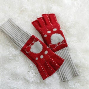 Vintage Gloves, Fingerless Gloves, Red Gloves, Vintage Red Gloves, Red & Gray Gloves, Bow Print Gloves, Polka Dot Gloves, Extra Long Gloves