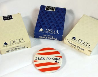 Vintage 1980's DELTA Airlines 3 Packs of Unused Playing Cards & One DELTA Airlines Large Pin Back Metal Pin