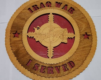Iraq Veteran Wall Plaque Wooden Model - Made of Mahogany Wood