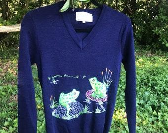 Vintage frog sweater