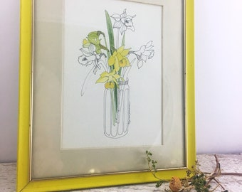 Beautiful Vintage Signed Lithograph- Mary Lou Goertzen - Daffodils